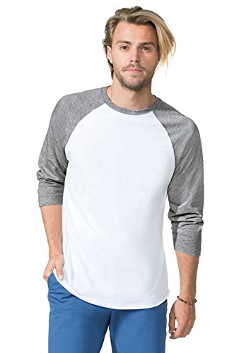 LAT Men's Fine Jersey Crew Neck Raglan 3/4 Sleeve Baseball Tee (Vintage Heather/Vintage Smoke, Small)