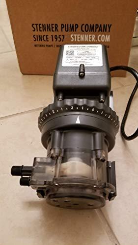- Stenner Pump 45m5 - Stenner Peristaltic Pump Adjustable Head - Rated at 2.5 to 50 gpd adjustable head. Rated at 25 psi. - Ideal Chlorine Injection Pump. 120 Volts, Model number 45MJL5A4S