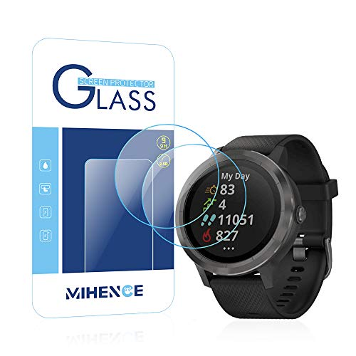MIHENCE Compatible Vivoactive 3 Trainer Screen Protector, 2.5D Rounded Edges 9H Premium Tempered Glass Screen Protector for Vivoactive 3 / Vivoactive 3 Trainer Smartwatch (2PCS)