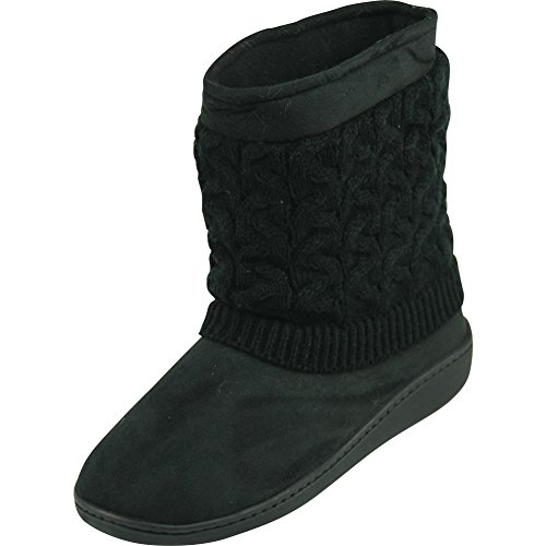 Forfoot Woman's Girl's Winter Warm Cozy Knit Fashion Indoor Bedroom House Ankle Boot Slippers Black US Women's Size 7/8 (Black Slipper Boots For Women)