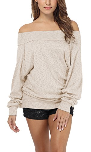 an Sleeve Off The Shoulder Sweater Shirt Tops,Beige,S ()