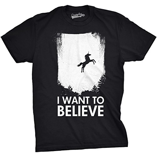 Believe Dog T-shirt - Crazy Dog T-Shirts I Want to Believe in Unicorns T Shirt Funny Magical Mythical Horse Tee (Black) 5XL