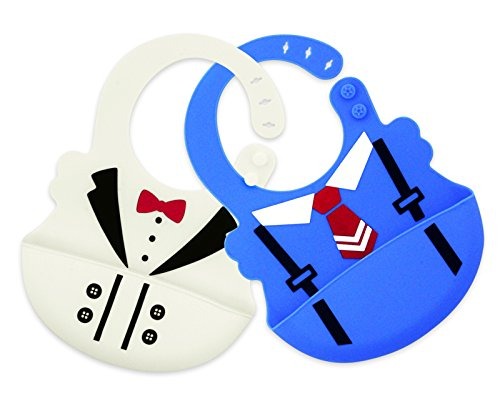 Ladies & Gents Collection Waterproof Silicon Baby Bibs (Set of 2, Little Gents)