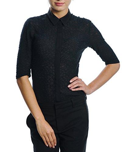 DONNA DESSA 1 Damen Bluse Hemd Schwarz, Designer in Deutschland, Business Oberteil, Figurbetont