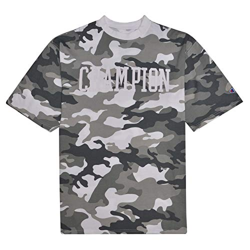 - Champion Camo T Shirt for Men Big and Tall Short Sleeve Tee with High Density 3D Collegiate Logo White/Grey Camo 3X Tall
