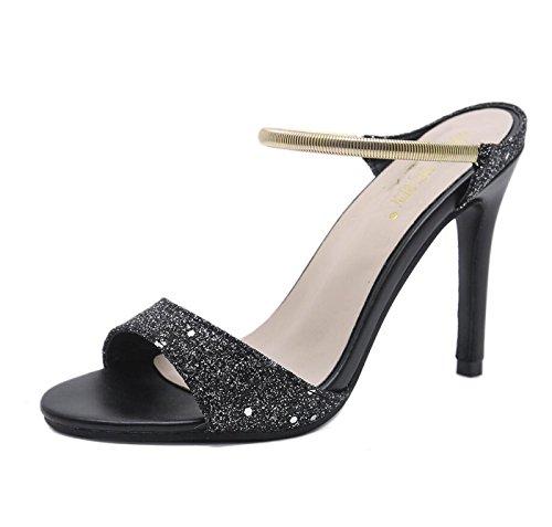 Womens Open Creative Tacchi Alti Scarpe Toe Paillettes nero Fashion Sandals Infradito estive Donne per Pantofole e Strap Le Wr0wqrg41