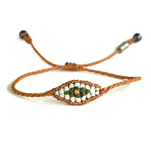 Evil Eye Bracelet for Men and Women in Rust Orange and Green with Hematite Stones: Handmade Pull Cord Size Adjustable Macrame Friendship Bracelets by Rumi Sumaq (Pine Pewter Pulls)