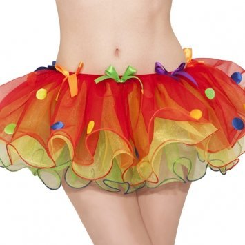 Goofy and Fun Costume Party Sassy Clown Tutu, Multi Colored, Polyester, Adult Size 6-8, (Sassy Clown Costumes)