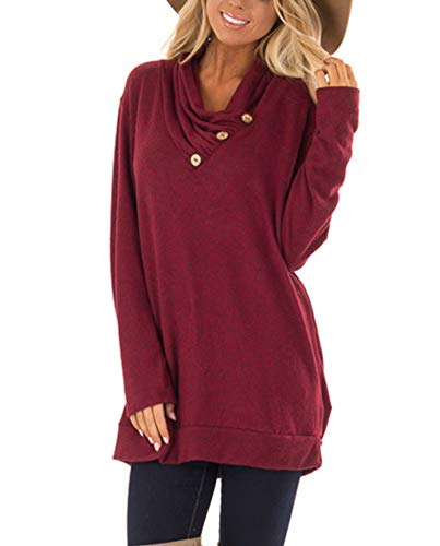 (Hount Womens Tunic Top Long Sleeve Casual Loose Top Shirt with Buttons (X-Large, Wine Red))