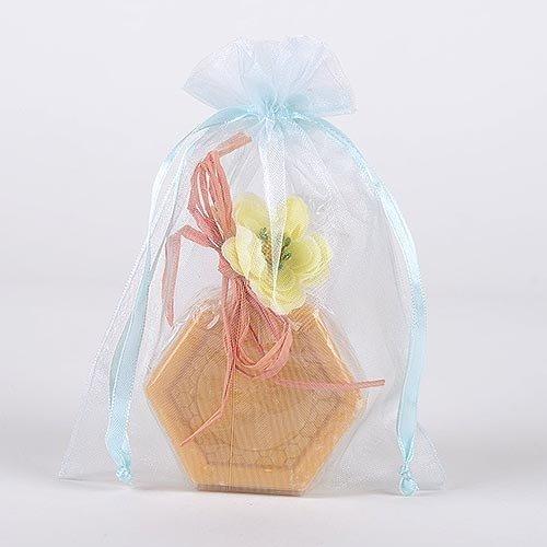 Light Blue Organza Ribbon (Organza Drawstring Gift Bag 8 x 12 inches 8