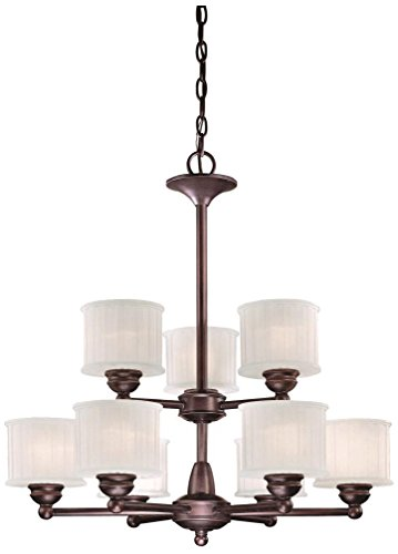 Minka Lavery Chandelier Pendant Lighting 1739-167, 1730 Series Glass 2 Tier Dining Room, 9 Light, 900 Watts, Bronze