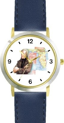 Price comparison product image Andrew Jackson (Old Hickory) - 7th US President - WATCHBUDDY DELUXE TWO-TONE THEME WATCH - Arabic Numbers - Blue Leather Strap-Size-Children's Size-Small ( Boy's Size & Girl's Size )