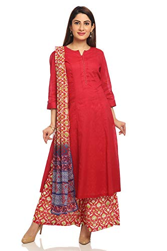 (BIBA Red A Line Cotton Suit Set Size 36)