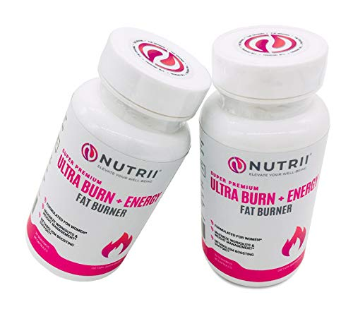 Nutrii - Ultra Burn + Energy - #1 Energy + Fat Burner, Appetite Suppressant, Mental Focus, Vegan, Weight Loss Supplement, Increase Energy/Metabolism, Green Tea, Caffeine, CLA, Diet Pill, 60 Capsules