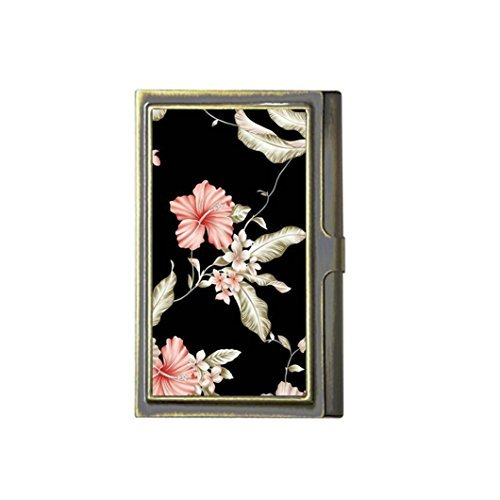 Black Pink Flowers Custom Fashion Image Business Bronze Name Card Holder Stainless Steel Box Case Card Wallet Holder