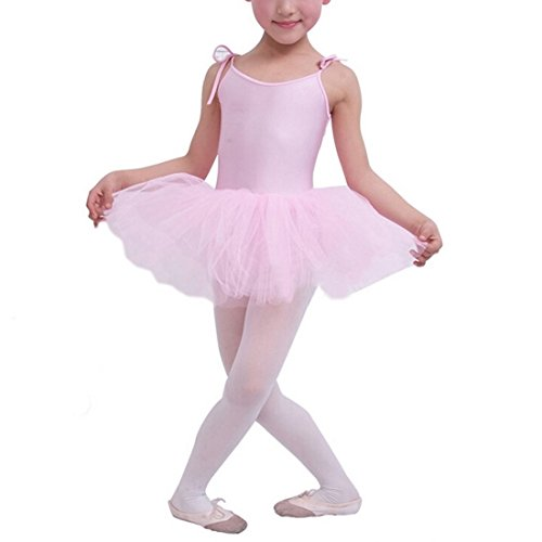 Buenos Ninos Girl's Ballet Costume Tutu Dance Dress Leotard Bodycon Braces Skirts Pink 9-10T (Pink Dance Costume)