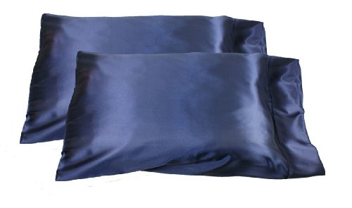 Price comparison product image 2pc New Queen/Standard Silk~y Satin Pillow Case Multiple Colors (Navy Blue)