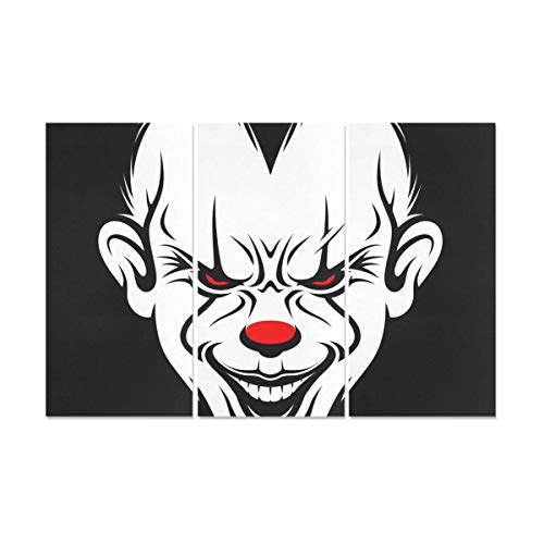 RYUIFI 3 Panel 3D Wall Decor Scary Clown Face Wall Painting for Kids Painting On Wall Canvas Prints for Men for Home Living Room Bedroom Bathroom Wall Decor Posters -