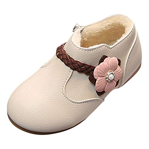 Todaies Winter Warm?Children Kid Girls Solid Flower Weave Princess Zip Boots Shoes