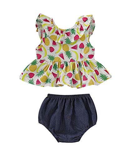 12 Month Fruit - Newborn Baby Girl Summer Dress Tops+Tutu Pants 2PCS Outfits Clothes Sunsuit Set 0-24M (12-18 Months, Fruit)