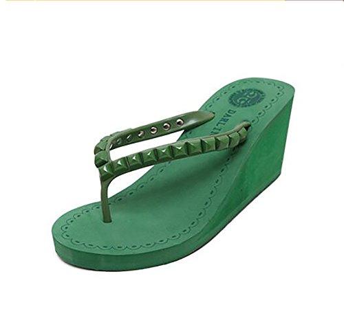 Green Confortable Femmes 39 Respirant Sandales Chaussures Plage Rivets green Shangxian Été Tongs Wedge Chaussons O5qgdOw