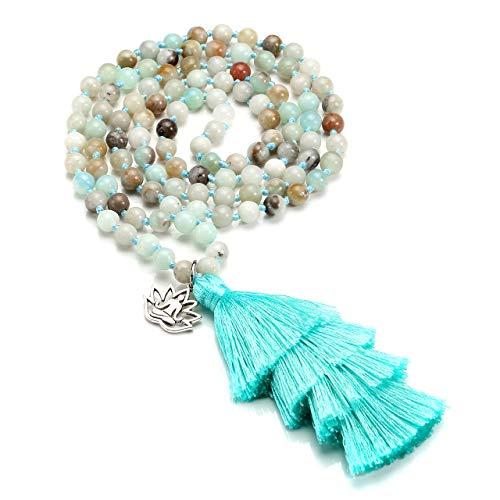 Jovivi 6mm Natural Amazonite Crystal Quartz Healing Gemstone 108 Mala Prayer Beads Wrap Bracelet Necklace w/OM Lotus Charm + Long Tassel