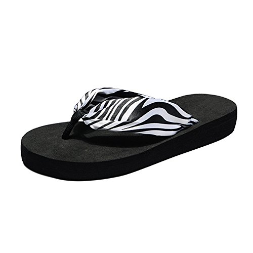OCHENTA Sandalias - zapatillas de seda - pendiente con la playa NegroZebra