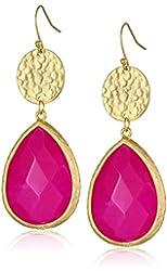 Panacea Hammered Disk Detail Stone Drop Earrings