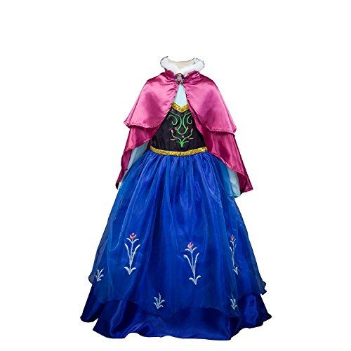 D'amelie Eiskönigin Prinzessin Kostüm Kinder Glanz Kleid Mädchen Weihnachten Verkleidung Karneval Party Halloween Fest (110, B)