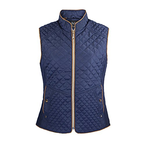 Ladies Vest Full Zip Quilted (Tanbridge Quilted Lightweight Vest for Women Full Zip Jacket Vest Lined Leopard with 2 Button Clouser Pockets Royal X-Large)