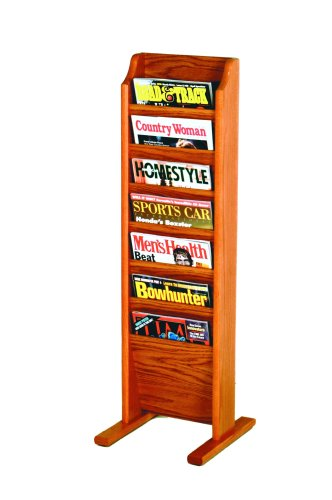 Floor Standing Magazine - Wooden Mallet 7-Pocket Cascade Free-Standing Magazine Rack, Medium Oak