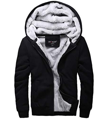 S&S-Men Fashion Casual Faux Fur Long Sleeve Hoodies Outwear Sweatshirt (Medium, Black)