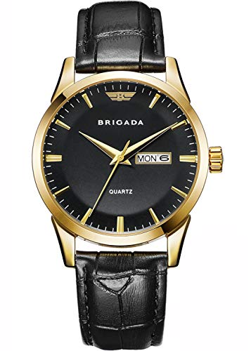 BRIGADA Swiss Brand Classic Gold Black Dress Watches for Men with Date Date Calendar, Business Casual Quartz Men's Wrist Watch Waterproof ()