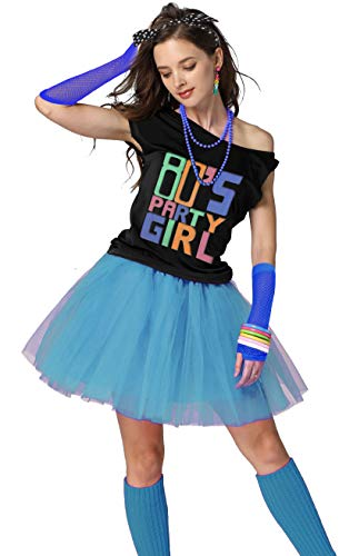 Xianhan 1980s Outfit 80's Party Girl Retro Costume Accessories Outfit Dress for 1980s Theme Party Supplies (L/XL, Sky Blue)]()