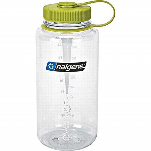 Nalgene Tritan 32oz Wide Mouth, Clear w/ Green Top
