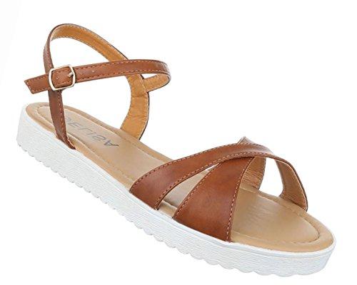 Damen Schuhe Sandalen Sandaletten Riemchen Schwarz Camel