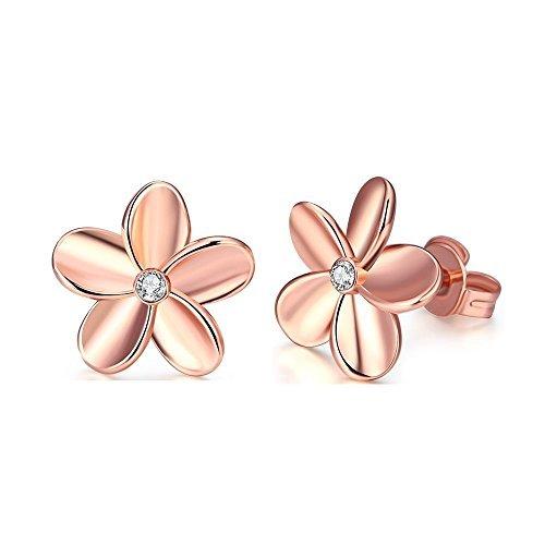 14K Rose Gold Rhinestone Flower Stud Earring For Women Girls Huggie CZ Post For Sensitive (14k Post Earrings)