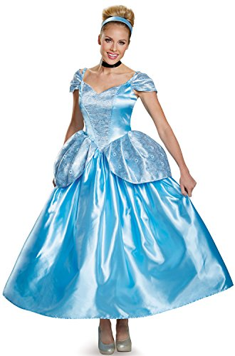 Disguise Women's Cinderella Prestige Adult Costume, Blue, Medium (Adult Cinderella Dress)
