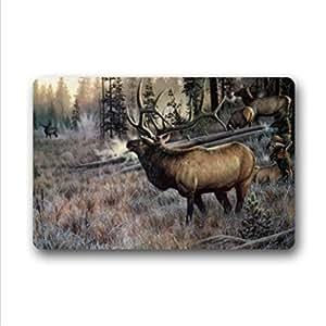 """Generic Doormats Cool Elk Patrón de goma Felpudo alfombra Felpudo para interior de entrada antideslizante alfombrillas 30""""x18"""""""
