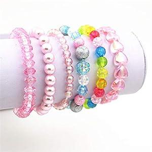 Best Epic Trends 41WSBRn-pLL._SS300_ 6 Pieces Princess Bracelets,Rainbow Stretchy Bead Bracelets Pink Love Bracelet,Girls Costume Jewelry Set
