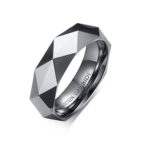 6mm Diamond Faceted Tungsten Carbide Wedding Band Rings For Men Women Polished Beveled Edge Comfort Fit by MAIKEDIAO