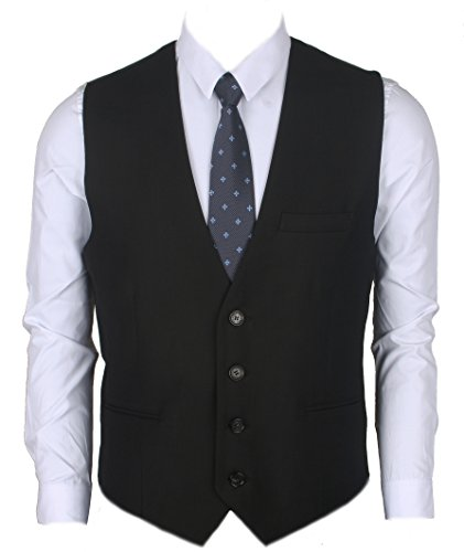 Ruth&Boaz Men's 3Pockets 4Button Business Suit Vest (L, Black)