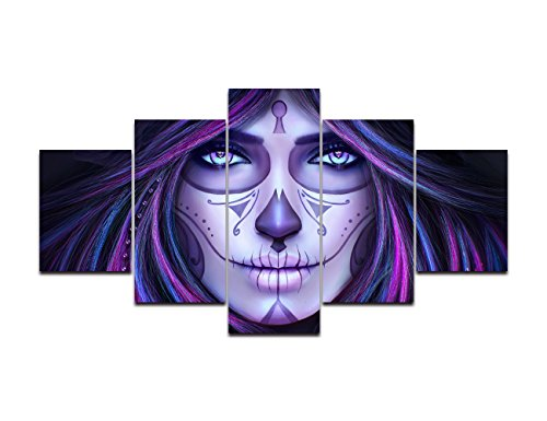 Oufeiyan Day The Dead Canvas Animated Tattoo Girls Wall Art Sugar Skull Girl Face Painting 5 Panel Modern Posters Prints Pictures Living Room, Home Decor Framed Stretched Ready to Hang(60''Wx32''H) -