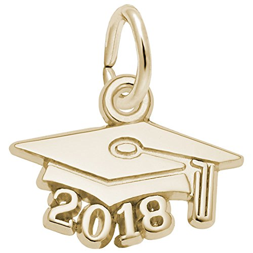 14k Gold Diploma Charm (Rembrandt Charms, 2018 Graduation Cap, Small, 14k Yellow Gold, Engravable)