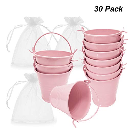 Amajoy 30 Pack Mini Metal Bucket Tin with Sheer Bag Candy Box Buckets Souvenirs Gift Pails for Bridal Wedding Party Baby Showers,Pink ()
