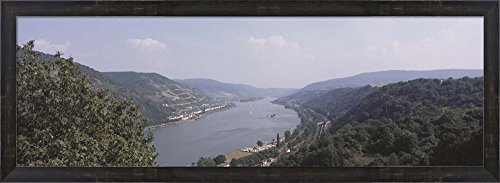 Germany, Bacharach, Lorch, Bridge over the Rhine river by Panoramic Images Framed Art Print Wall Picture, Espresso Brown Frame, 38 x 14 inches (Framed Rhine River)