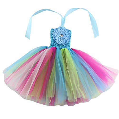 Wennikids Baby Girls TUTU Dress Crochet Tube Top Baby Pettiskirt with Match Flower Large Design -
