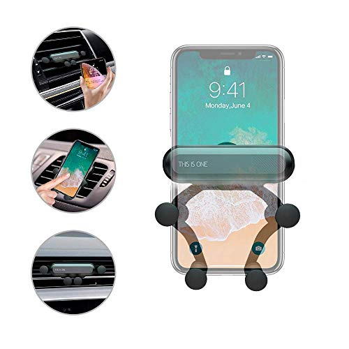 Car Mount Phone Holder, Gravity Air Vent Phone Mount Auto-Clamping Phone Holder Universal Car Phone Mount Compatible with iPhone Xs MAX/X/XR/8/7, Galaxy Note 9/S10 Plus/S9/S8/S7- Black