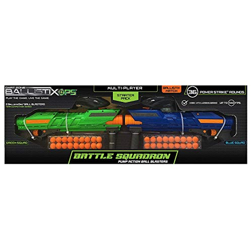 Dart Zone Ballistix Ops Pump-Action Ball Blaster Foam Dart Guns 2-Player Starter Pack