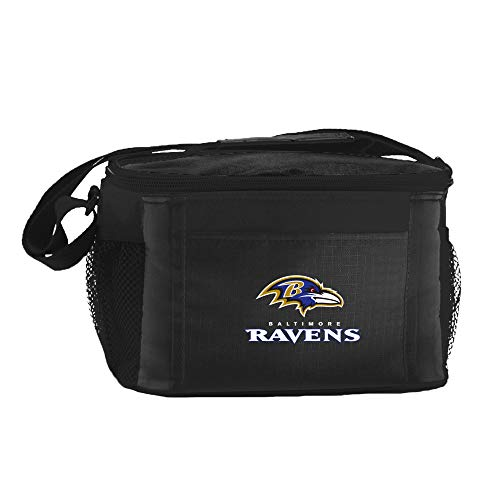 (NFL Baltimore Ravens Insulated Lunch Cooler Bag with Zipper Closure, Black )